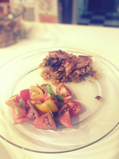 Heirloom Tomatoes with Butternut Squash Hash and Pulled Pork